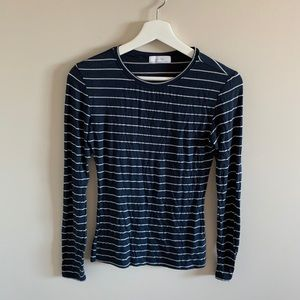 Oak and Fort Navy Blue Striped Long Sleeve Tee
